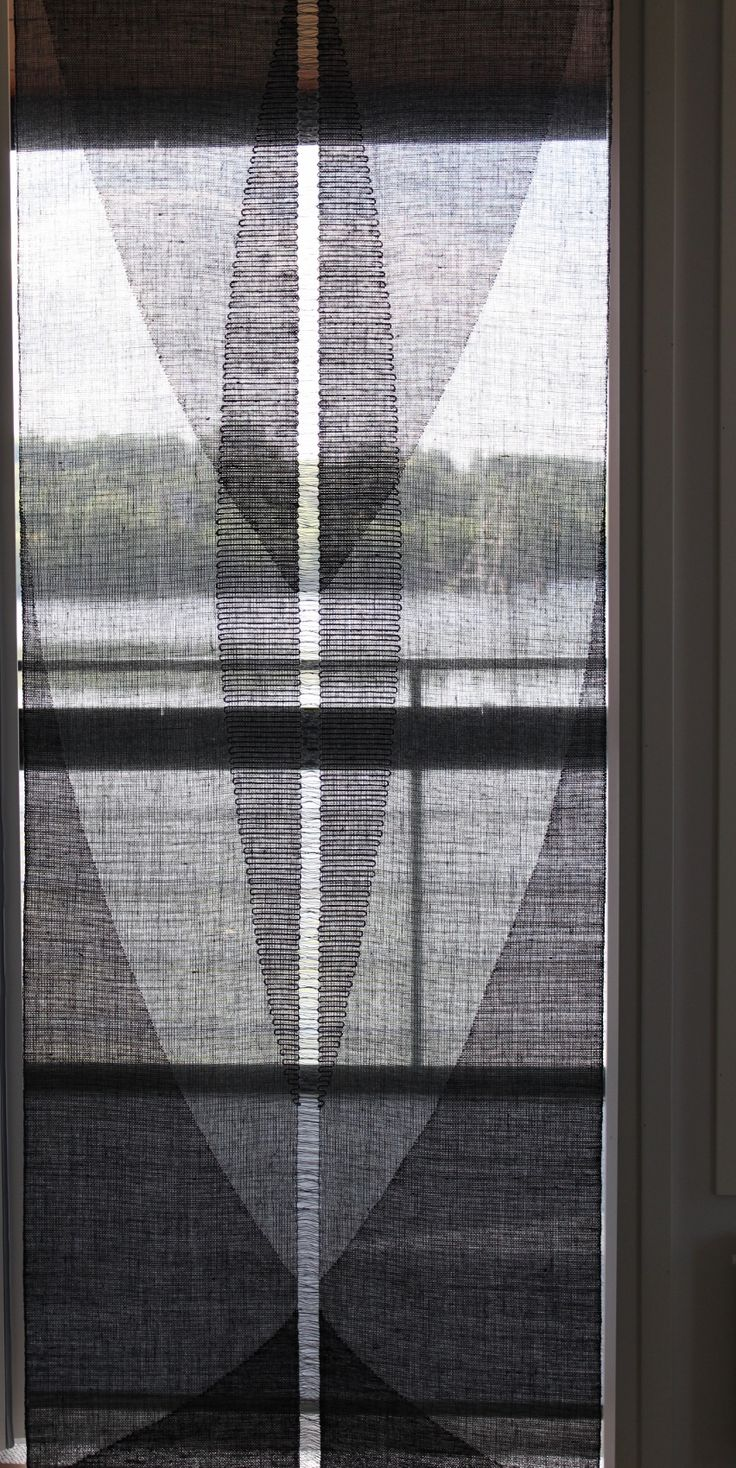 Hand-woven transparent weave of linen by Helena Vento