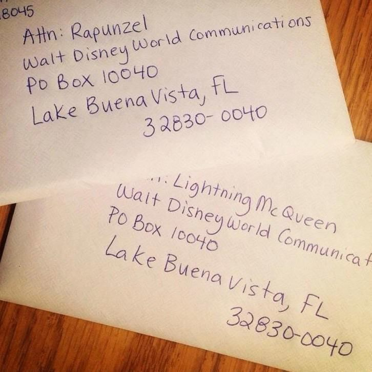 Write a letter to your child's favorite Disney character. They will write back and send an autographed picture. This is the address.
