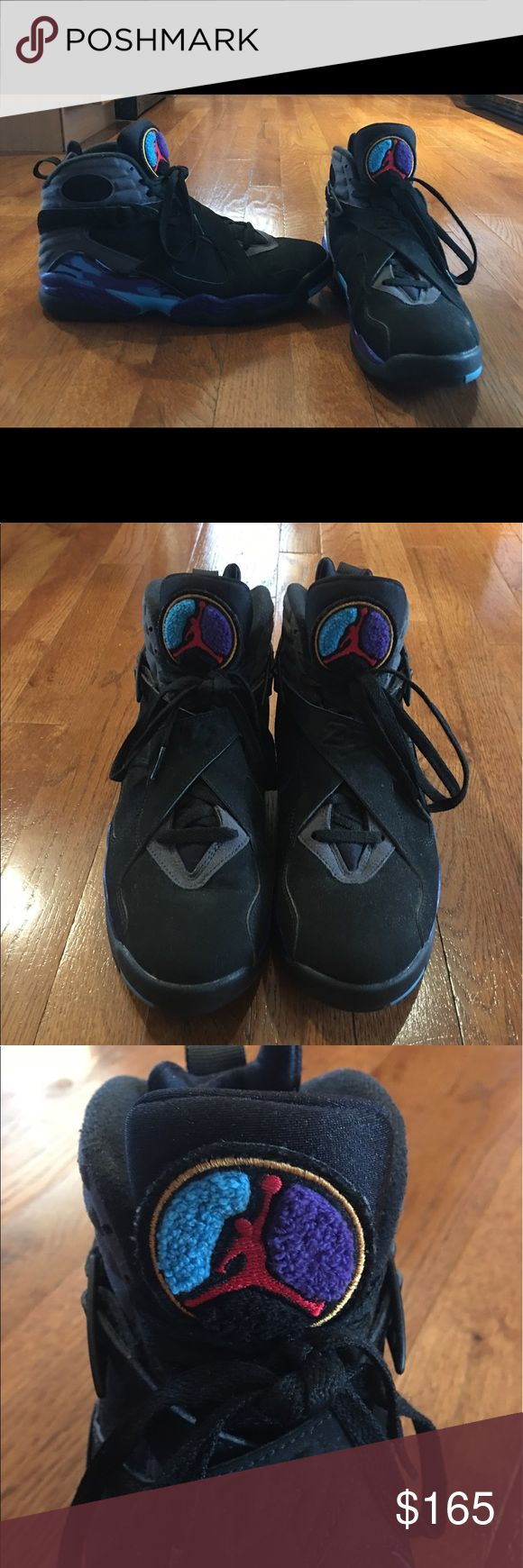 AIR JORDAN RETRO 8 Used a couple of times , very good condition, black  and purple , size 8 Air Jordan Shoes Sneakers