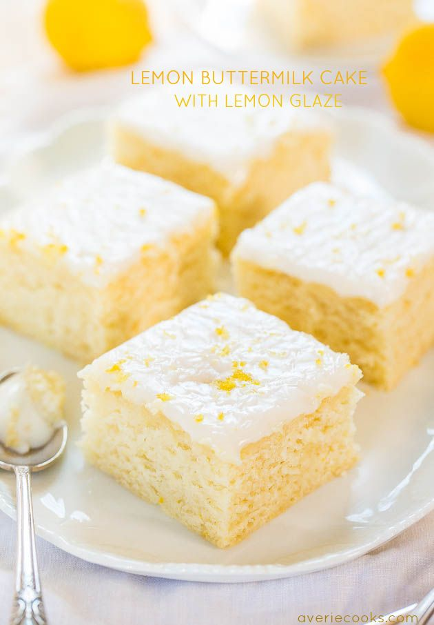 Lemon Buttermilk Cake with Lemon Glaze - An easy little cake with big lemon flavor!! Soft, fluffy, and foolproof if you like puckering up!! Perfect for spring!