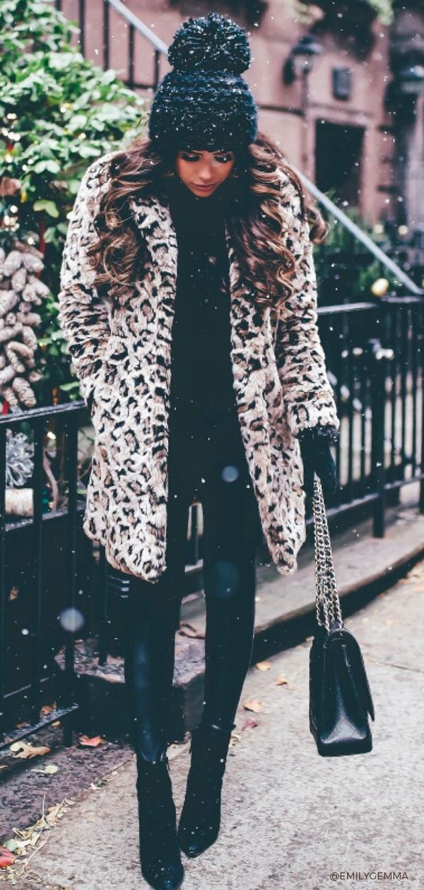 Outfit for Winter, shop all the items of this 2018 fashion look. Emily Gemma, The Sweetest Thing Blog #EmilyGemma #TheSweetestThingBlog #Wintertrends #winterstyle #leopard #coat #beanie