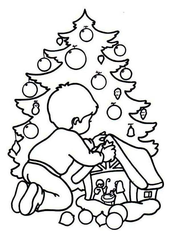Christmas A Kid Playing A Christmas Game Coloring Page Christmas Tree Coloring Page Tree Coloring Page Christmas Coloring Pages