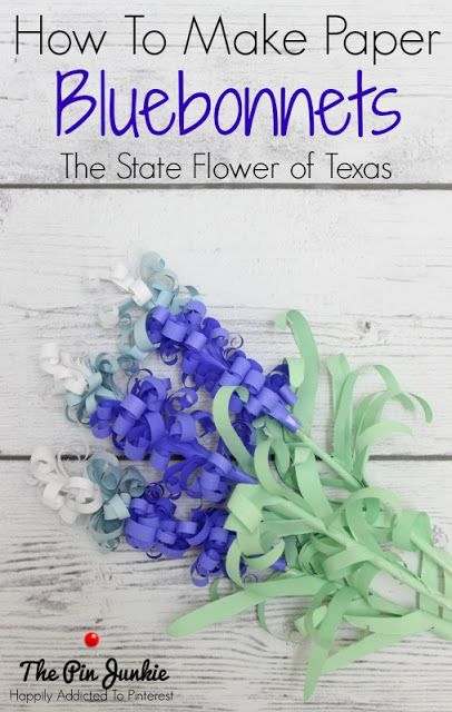A complete tutorial that shows you how to make paper bluebonnets, the state flower of Texas.