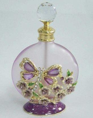 Round Purple Dragonfly Perfume Bottle