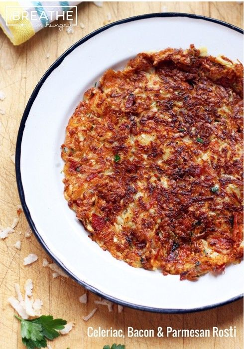 A low carb and gluten free Celery Root, Bacon, and Parmesan Rosti recipe from I Breathe I'm Hungry