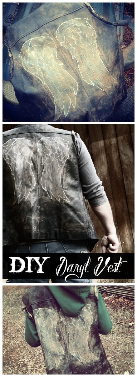 DIY Costume: the 'Daryl Vest' ~ see my Walking Dead money-saving tutorial on day2daySuperMom.co