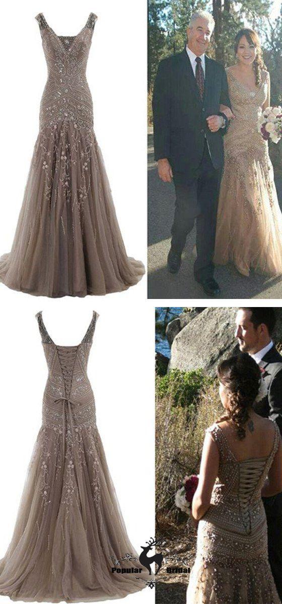 Popular Stunning V-neck Lace up Rhinestone Mermaid Bridal Gown, Wedding Dresses, BG0188 #popularbridal #wedding #weddingdresses