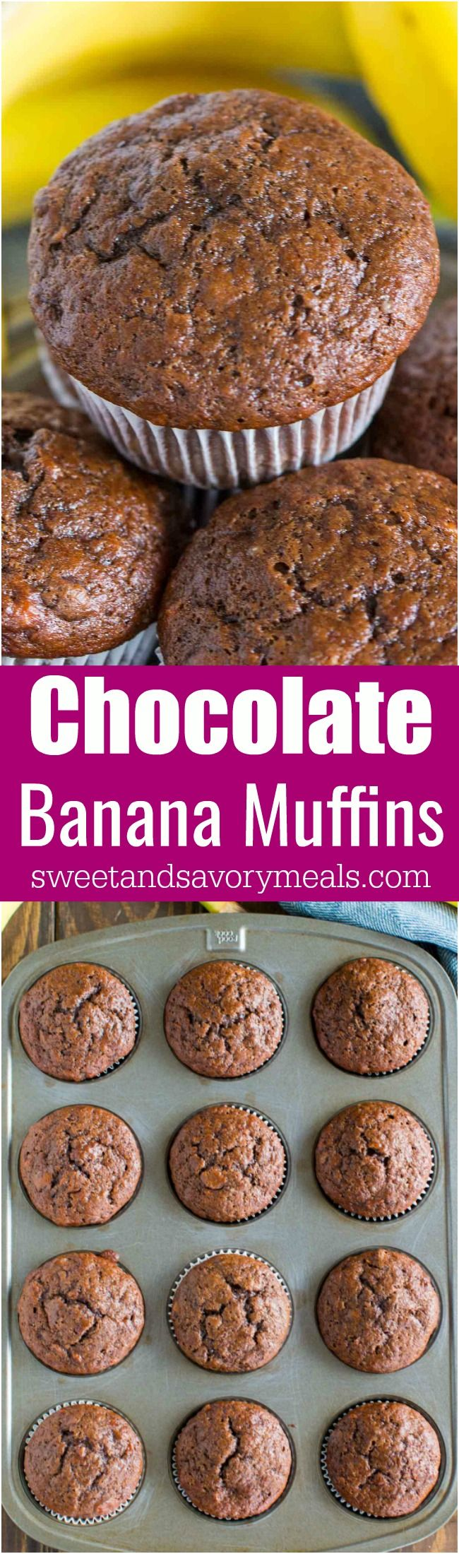 Chocolate Banana Muffins are the best way to use over ripe bananas. The muffins are very easy to make, soft, chocolaty and full of flavor. #muffins #chocolate #banana