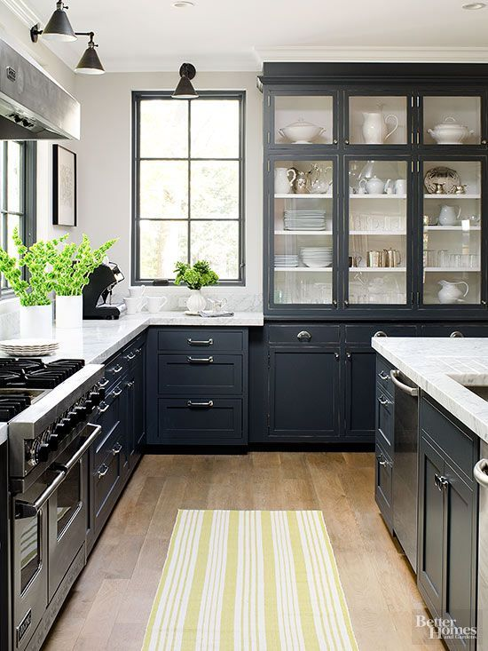 Bring easy, casual and sophisticated style into your kitchen with these country kitchen ideas. We love the look of this airy-but-dark color scheme: http://www.bhg.com/kitchen/styles/country/country-kitchen-ideas/?socsrc=bhgpin031215darkcountrykitchen&page=14