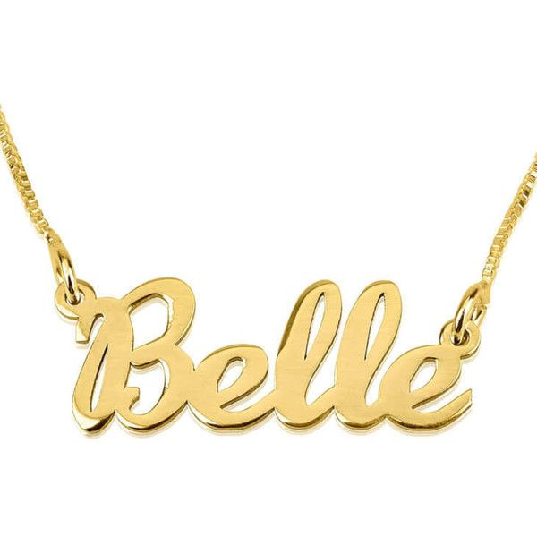 24K Gold Plated Handwriting Name Necklace ($10) ❤ liked on Polyvore featuring jewelry, necklaces, gold plated jewellery, 24 karat gold necklace, 24-karat gold jewelry, gold plated necklace and 24k jewelry