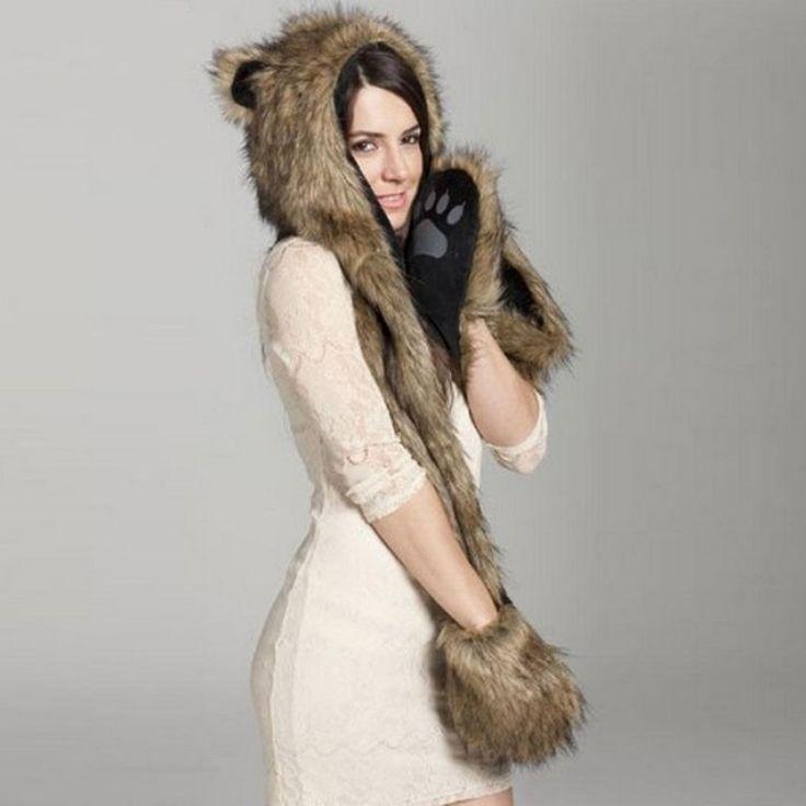Winter Faux Animal Fur Hat Fluffy Plush Cap Hood Scarf Shawl Gloves Straw Yellow