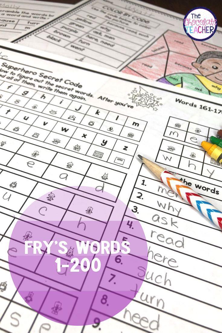 Fryus sight word activities games worksheets bundle words