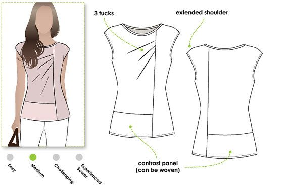 Knit top sewing pattern for women in sizes 16, 18 and 20. PDF pattern for instant download. See size chart in the gallery to choose your correct size! Sizes 4 - 30 are available in our store.  This casual but fashionable top features panels which can be colour mixed. The lower panels may be made in a soft woven so why not design your own look? We love the flattering extended shoulder the beautiful drape created by the front tucks.  *** 28 pattern tile pages ***  Pattern measurements based…