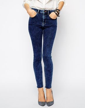 ASOS Ridley Skinny Ankle Grazer Jeans in Bligh Acid Wash with Raw Hem - Bligh acid wash