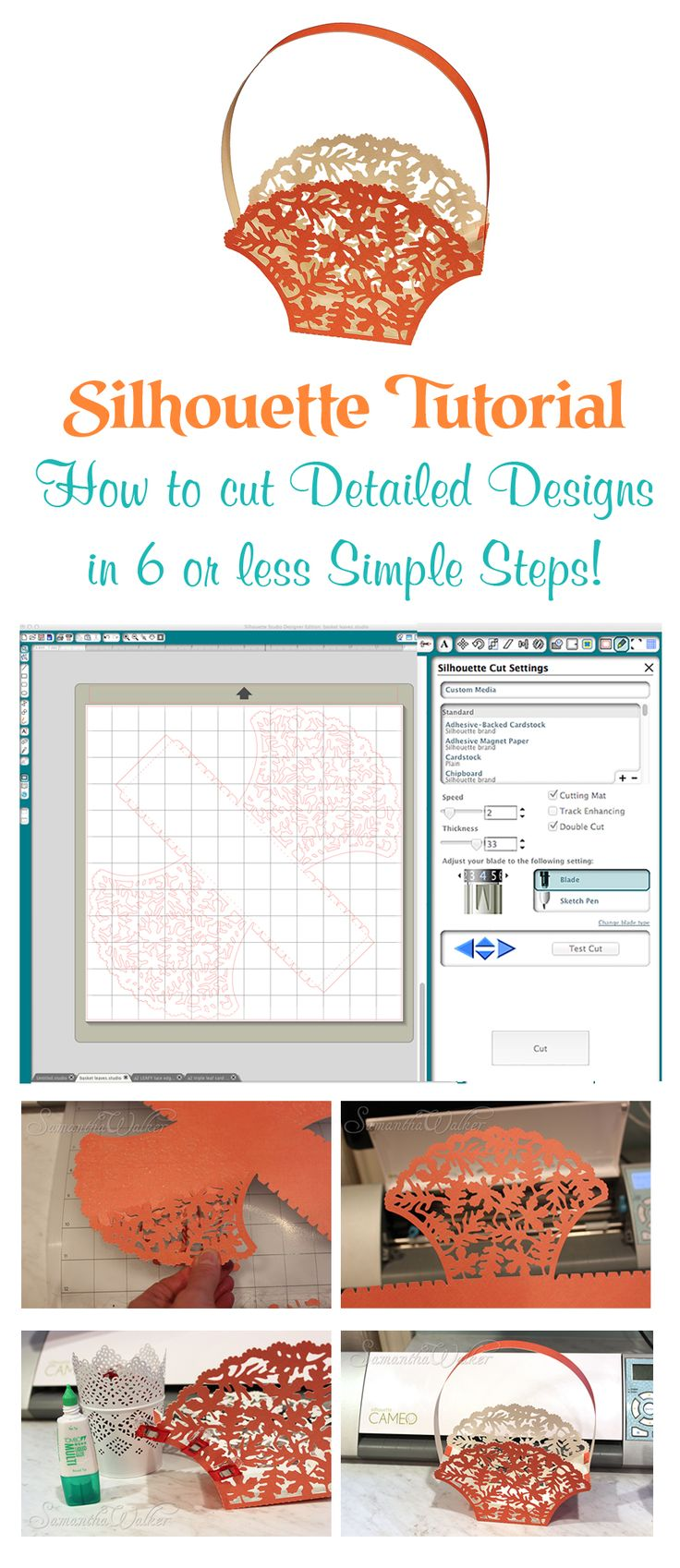 Silhouette Tutorial! Don't be afraid of cutting detailed designs with the Silhouette machine. You can do it with this simple tutorial that breaks it down into 6 steps or less!