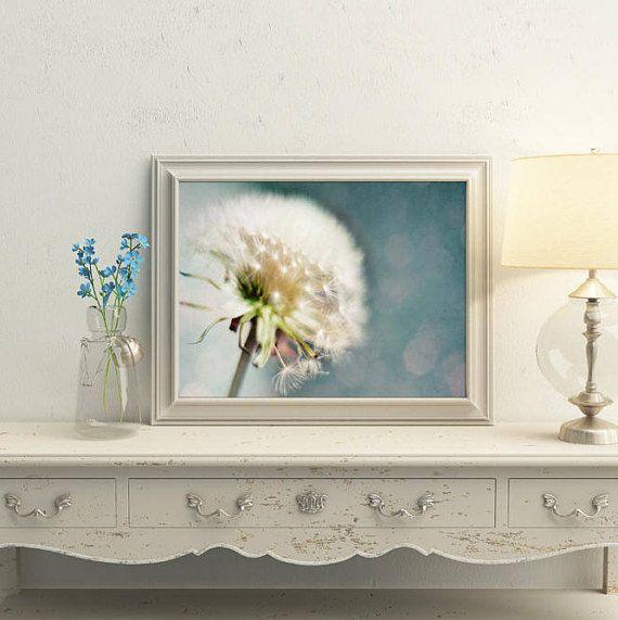 Dandelion print Teal home decor Nursery wall decor