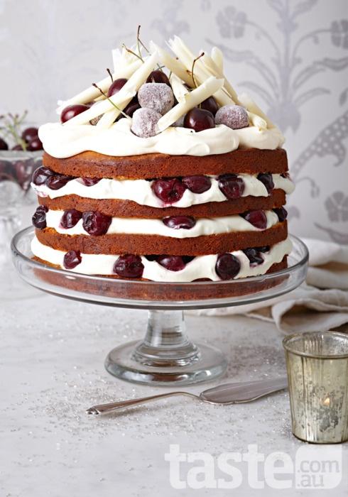 white chOcOlate black fOrest cakeKerry Ray, White Chocolates, Cake Food, Christmas, Black Forests Cake, Chocolates Cake Recipe, Chocolates Black, Cake Recipes, Brett Steven