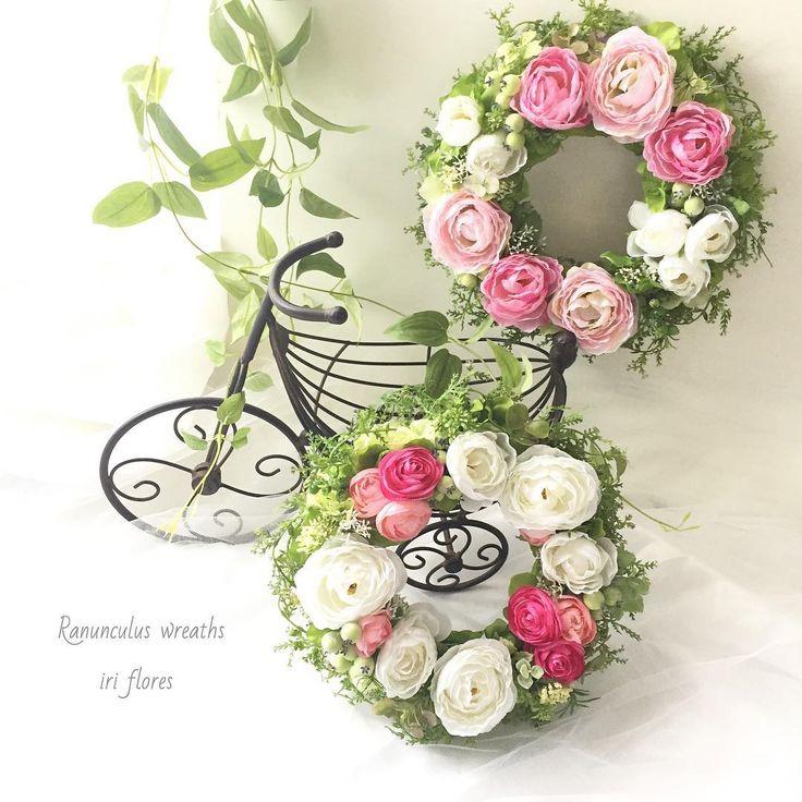 ラナンキュラスのリースです。アテーィフィシャルフラワーでお作りしました。  #iriflores #イリフローレス #野花 #ラナンキュラスリース #海のリース #ナチュラルリース#アーティフィシャルフラワー#造花#リース#ペアリース#ナチュラル#海 #アリエル ラナンキュラス#ディスニー#ピンク #春のリース #夏のリース#リボン#海外挙式#夏婚#贈呈品#フラワーギフト#記念日#写真立て#ウェディング#結婚式/新築祝い#ウェルカムスペース#結婚祝い#野花#両親へのプレゼント#ウェルカムボード