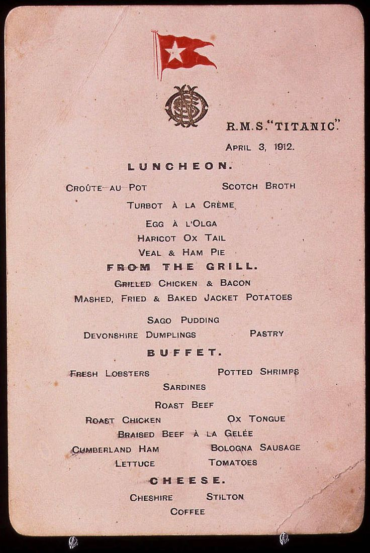 One of a pair of pre-voyage menu cards from April 3, 1912, from the doomed liner Titanic, which were sold for $ 32,275 in a sale of maritime memorabilia at Christie's in London Thursday, Nov. 5, 1998. The menus, bought by an undisclosed American buyer, were just one lot in the sale of maritime memorabilia.: Titanic Centenni, Pre Voyage Menu, Prevoyag Menu, Menu Cards, Rms Titanic, Liner Titanic, Titanic Artifact, Titanic Food, Photo