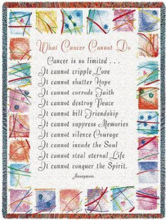 Amazon.com - What Cancer Cannot Do Throw - 70 x 53 Blanket/Throw - Cancer Patient Gifts