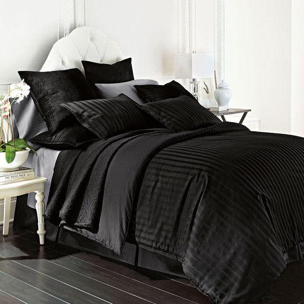Royal Velvet 400tc Damask Stripe Egyptian Cotton Comforter Set ($90) ❤ liked on Polyvore featuring home, bed & bath, bedding, comforters, king sham, stripe comforter, striped twin comforter, twin comforter and twin bedding