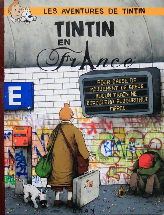 """""""Tintin en France"""" crayon, pierre noire et gouache sur toile, oeuvre de street art de Dran (artiste français) présentée lors d'une exposition au musée de la Poste. Son site : http://retroactif.free.fr/dran/dran."""