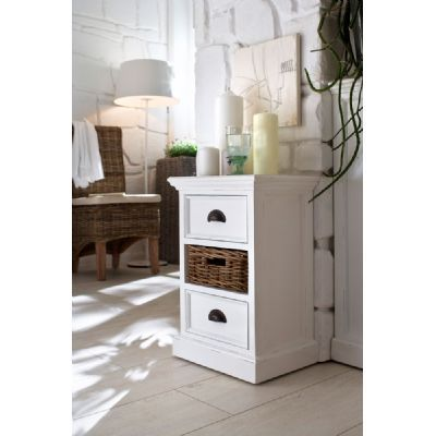 Whitehaven Painted Small Distressed Cabinet With Rattan Basket