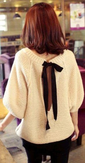 New Cute Stylish Korean Tan Sexy Open Tye Back Knit Jumper Top UK 8 10 12