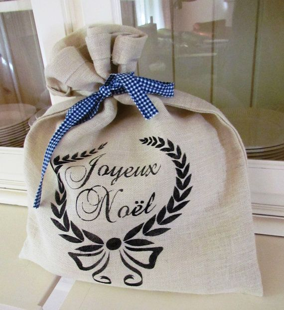 Santa Sack Hessian Burlap shabby chic by Lizzieslovelysewing, $20.00