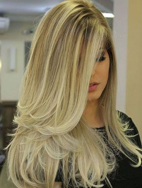 Amazing Long Blonde Ombre Blowout Hairstyle