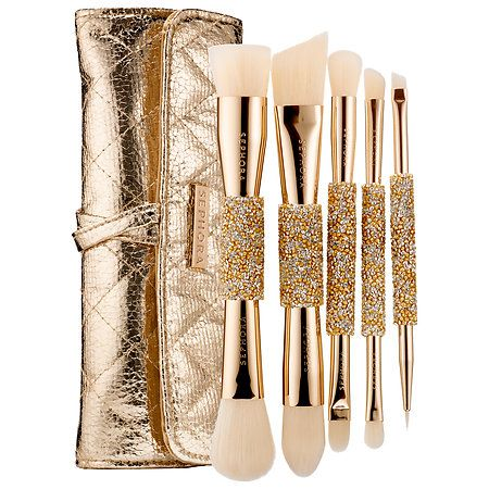 Shop SEPHORA COLLECTION's Double Time Double Ended Brush Set at Sephora. This five-piece double-ended brush set comes in a quilted gold crackle pouch.
