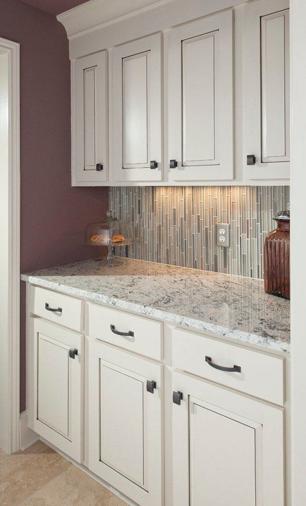 Small Kitchen Ideas White Ice Granite Countertop Cabinets Tile Backsplash Backsplashes And Counters Countertops