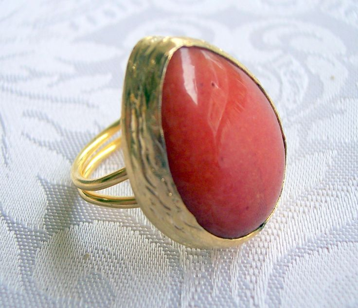 gold plated handmade ring with orange agate semiprecious gemstone, jewelry and balance by GardenOfLinda on Etsy