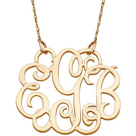 Personalized 10kt Yellow Gold Fancy 3 Initial Monogram Necklace Women S Monogram Necklace Personalized Jewelry Monogram Pendant