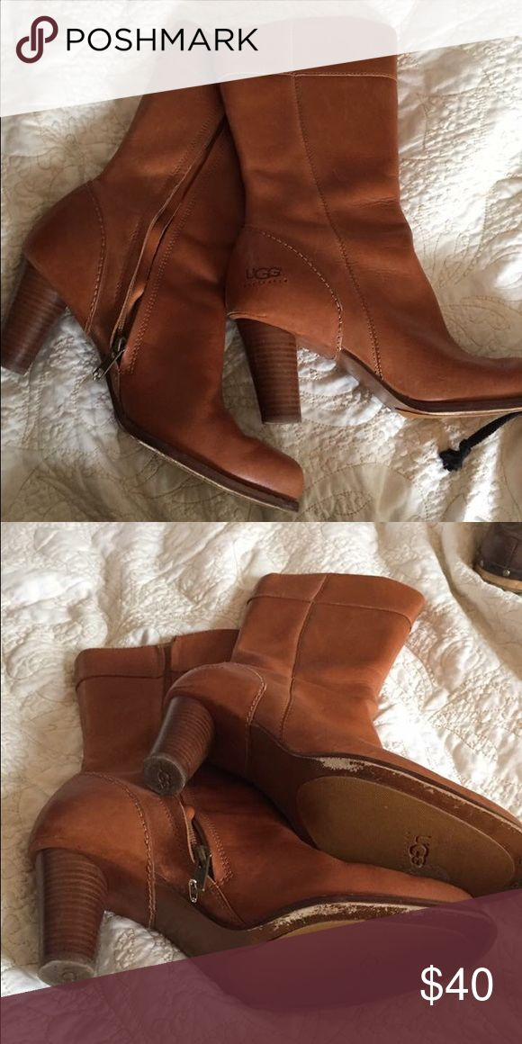 Ugg tan leather boots Great tan leather boots UGG Shoes Heeled Boots
