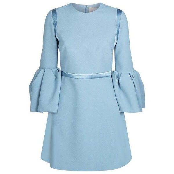 Roksanda Hidari Bell Sleeve Dress (14.945.230 IDR) ❤ liked on Polyvore featuring dresses, crepe dress, mini dress, blue mini dress, flared sleeve dress and roksanda