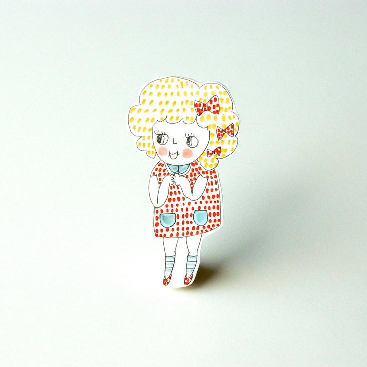 SALE // Girl Illustration Brooch // Shrink Plastic. £15.00, via Etsy.