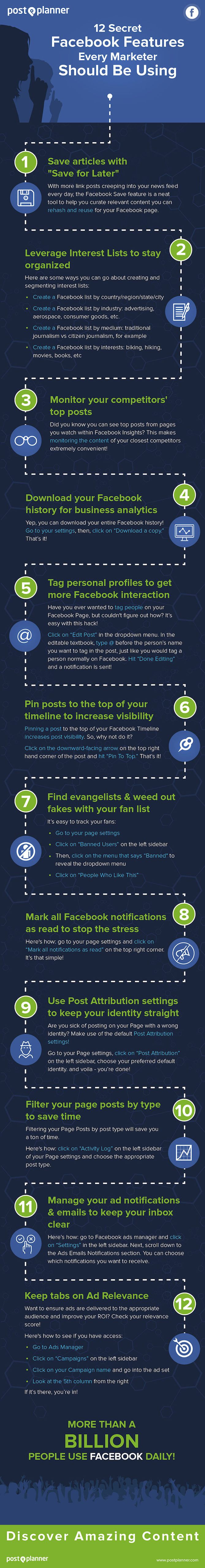 12 Secret Facebook Features Every Marketer Should Be Using #Infographic