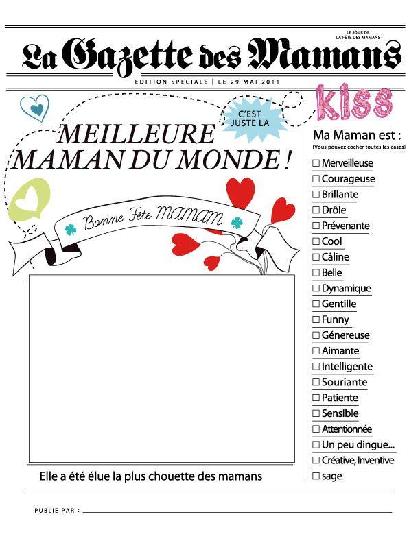 Carte journal pour la fête des mamans