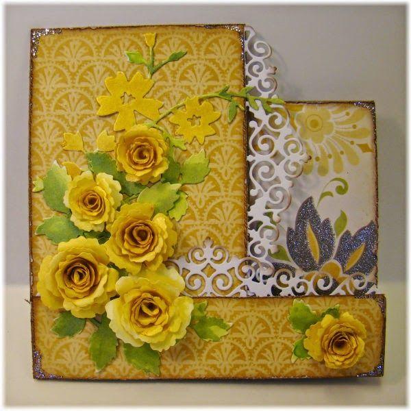Hobbyboden's Blog: Foldekort med gule roser