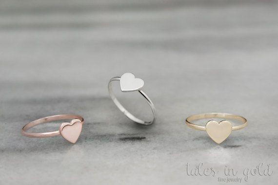 Anillo de oro rosa corazón corazón pequeño anillo 14k anillo