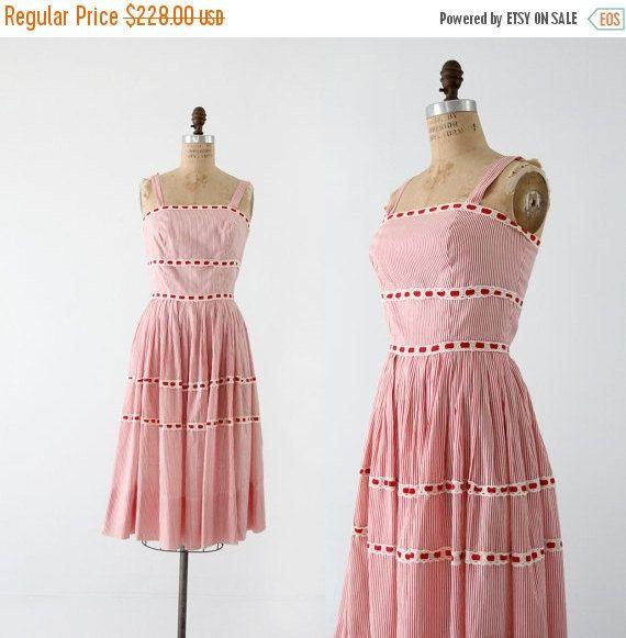 sale 1950s sundress Saks Fifth Avenue pinstripe by 86Vintage86