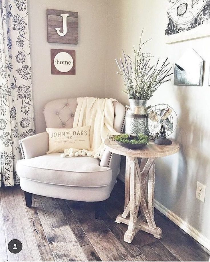 Cute, Cozy Corner | Farmhouse Home Decor | Rustic End Table | Off-White Armchair