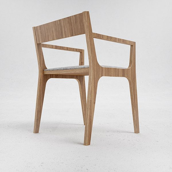 oak veneered plywood chair with felt seat and back.