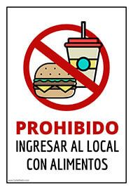 Cartel listo para imprimir. Señal de prohibido ingresar con alimentos y bebidas. #ProhibidoAlimentos #Comercio