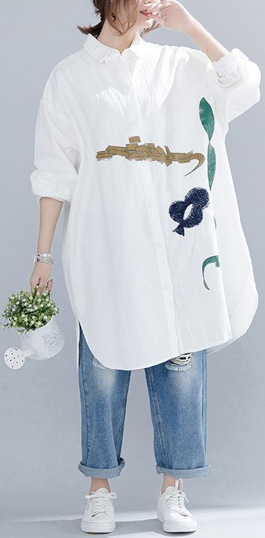 79044833d53 Handmade cotton tops Boho embroidery Turn down Collar Outfits white Art tops  spring