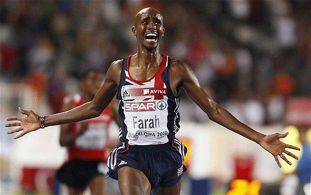 Mo Farah - Somali born British distance runner. Won gold at 2012 Olympics for 5,000 and 10,000 metres. First Briton to win gold in 10,000 metres.