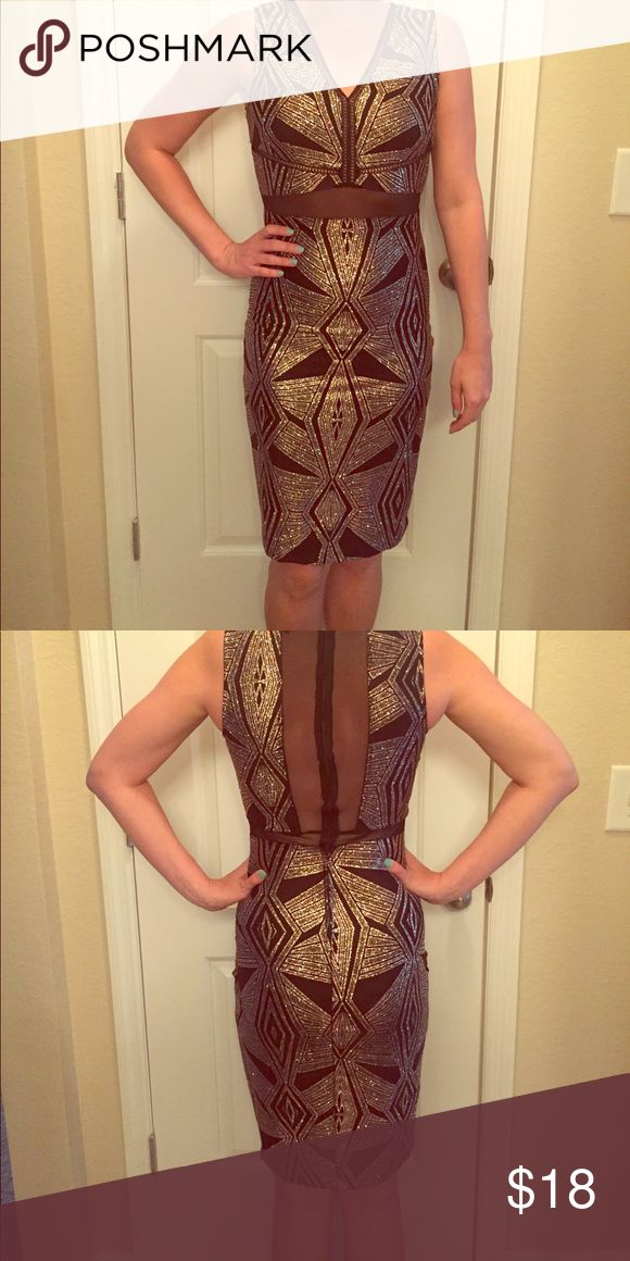 Aztec glitter cocktail dress Great form fitting dress with mesh open back details. More of a rose gold glitter than gold. Would be perfect for any special occasion and knee length. Nordstrom Dresses Midi