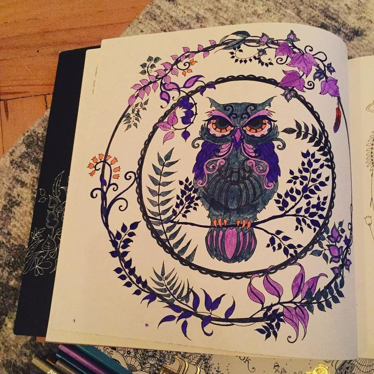 Ve bitti😍 #art #artoftheday #artwork #book #brightcolours #baykuş #color #coloring #draw #drawing #enchantedforest #gizemliorman #hobby #johannabasford #kitap #leaf #mor #gri #grey #owl #painting #relax #therapy #yaprak #purple