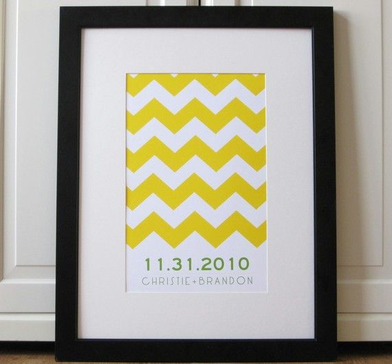 Have guests sign the mat around this graphic print. Available on Etsy.
